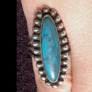 Native American Turquoise + Sterling Silver Ring 7